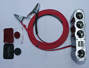 Battery-Clip-On-Lead-to-4-Cigarette-Cigar-Lighter-Sockets-amp-2-USB-Port-3-m-long