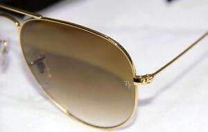 e4a27cff35b9f A imagem está carregando GENUINE-Ray-Ban-Sunglasses-Aviator -RB3025-Gold-Brown-