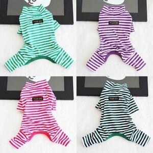 Teddy-Sleepwear-Pajamas-Autumn-Winter-Stripe-Jumpsuit-Dog-Cat-Clothes-Pet-Puppy