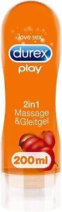 Durex Gleitgel 2-in-1 Massage Guarana – Wasserbasiertes Gleitmittel – 200 ml