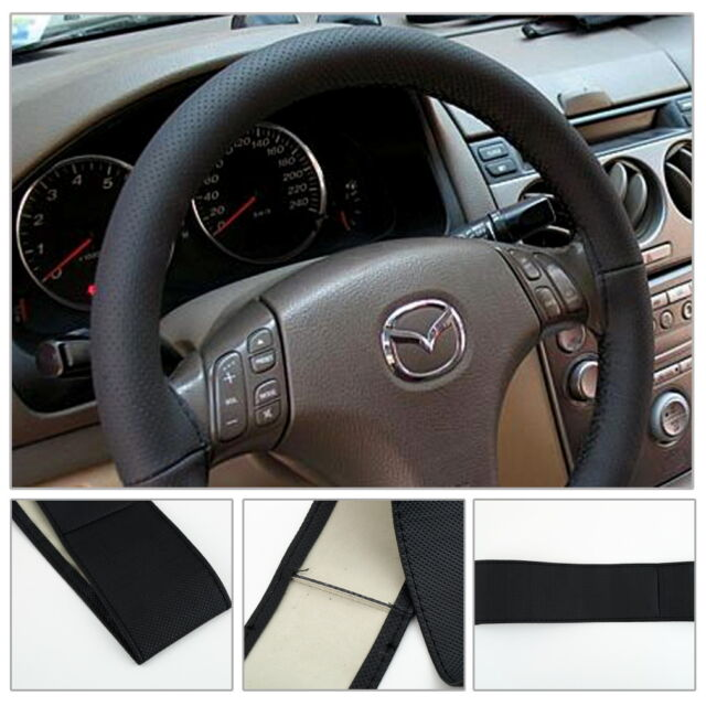DIY Leather Car Auto Steering Wheel Cover With Needles and Thread Black LK