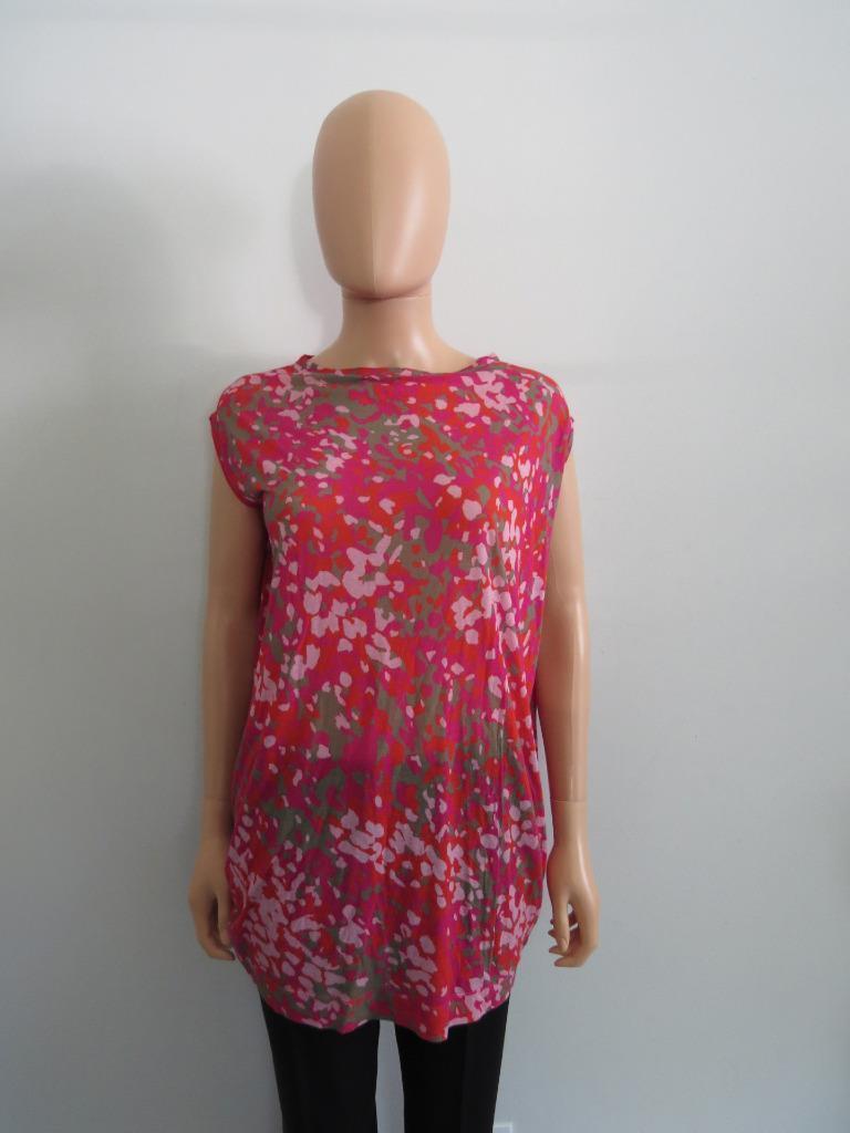 Stella McCartney Fuchsia rot Rosa Taupe Splatterot Long T-Shirt Top, Größe 40