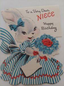 1952-Vtg-Anthro-Fuzzy-BUNNY-Blue-DRESS-Norcross-NIECE-BIRTHDAY-GREETING-CARD