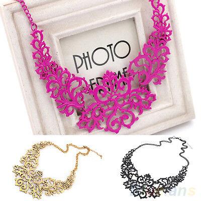 Fashion Womens Retro Vintage Hollow Pendant Bib Choker Necklace Statement Chain