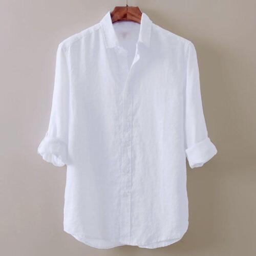 slim de zon katoen shirt heren strandblouse linnen T Casual bescherming tegen Vintage Tops LVpjqSzMUG