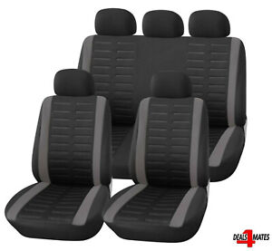 Gris-Negro-Tela-Suave-9-piezas-Set-completo-cubiertas-de-asiento-de-coche-para-Mercedes-a-B-C