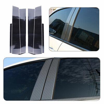 Fits Honda Civic 4DR 2006-2011 Real Carbon Fiber Black Window Pillar Posts 6PCS