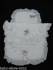 Beautiful Pram Quilt and Pillow Set suitable for MOST PRAMS COLOUR WHITE /SILVER