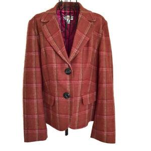 Talbots-Plaid-Wool-Ruffle-Back-Jacket-Blazer-Lined-Peplum-Russet-Size-14