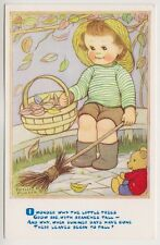 Artist postcard - Child on Bench with Basket of Leaves by Phyllis Purser