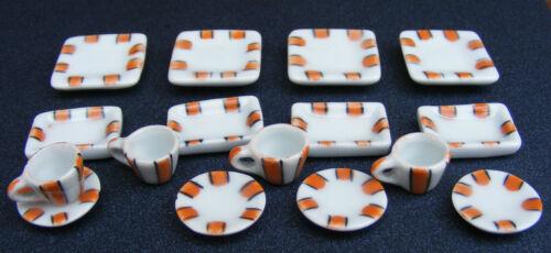 1:12 Échelle 16 pièces en céramique marron à motifs Tea Set maison de poupées miniature TS29