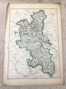 Antigo Mapa De Buckinghamshire County Inglaterra 19th Century Antigo Colorido À Mão