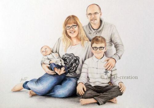CUSTOM coloured pencils PORTRAIT hand drawn portrait from your photo