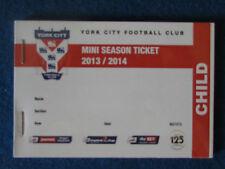 York City FC Mini Season Ticket 2013/14 booklet - Complete.
