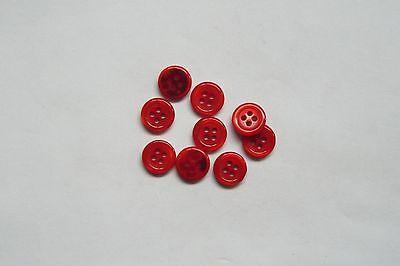 Confiado 10pc 11mm Rojo Tomate Camisa Blusa Bebé Niño Cardigan Pantalón Botón 0790