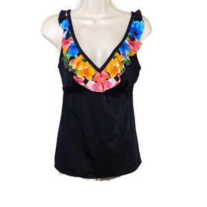 Kim-Rogers-Tankini-Swim-Top-Women-Size-S-Black-Floral-Ruffle-Swimwear-Padded