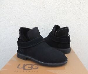 UGG MCKAY BLACK SUEDE/ SHEEPSKIN ANKLE BOOTS, WOMEN US 10.5/ EUR 41.5 ~NIB