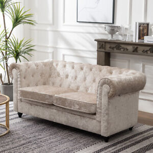 Details About Chesterfield Sofa Crushed Velvet 2 Seater Armchair Couch Silver White
