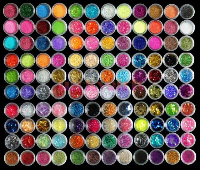 120 Colors Glitter Gems Bead Acrylic Powder UV Nail Art 3D DIY Decoration Set