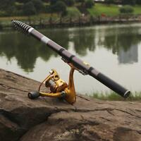 Professional Carbon Telescope Rock Fishing Rod Travel Spinning Pole 2.4m Dt K2o3