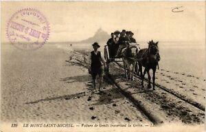 CPA-Le-Mont-Saint-Michel-Voiture-de-Genets-traversant-la-Greve-633039