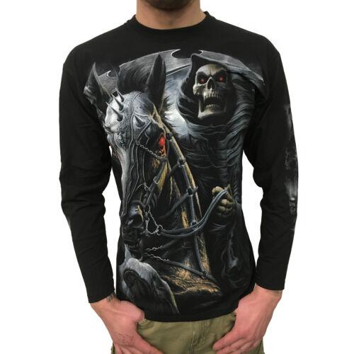Noir Gothique Skull Mens Shirt Spiral-Death Rider-Messieurs US
