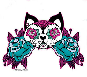 Cool White Cat Mexican Sugar Skull Tattoo Style Pink Amp Blue