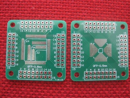 5pcs QFP32//44//64 0.8mm to QFP16-64 0.5mm Double-sided Adapter Board New