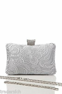 NEW LADIES SATIN AND LACE CLUTCH BAG HANDBAG DIAMANTE SILVER GOLD PINK BEIGE