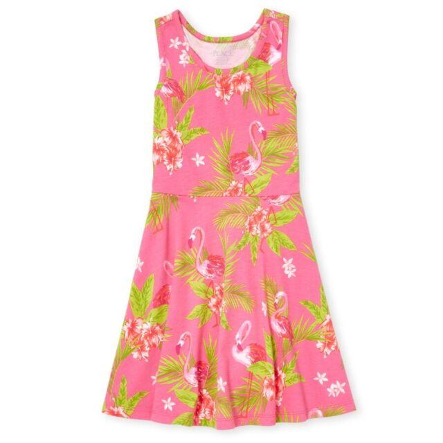 Girls Dress Sun Flamingo Mesh Skirt Tutu Sleeveless Summer Kids 9 to 36 Months