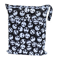 Skull Wet Dry Bag Baby Cloth Diaper Nappy Bag Reusable With Two Zippered Pockets