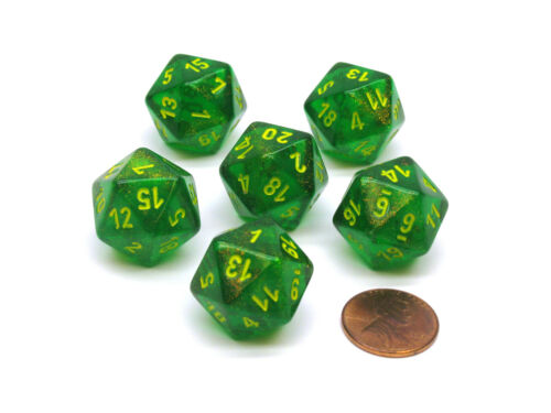Borealis 20 Sided D20 Chessex Dice Maple Green with Yellow Numbers 6 Pieces