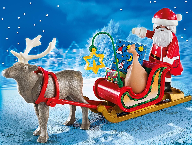 Playmobil Navidad - Trineo de Papá Noel con reno, playset 17 piezas Juguetes