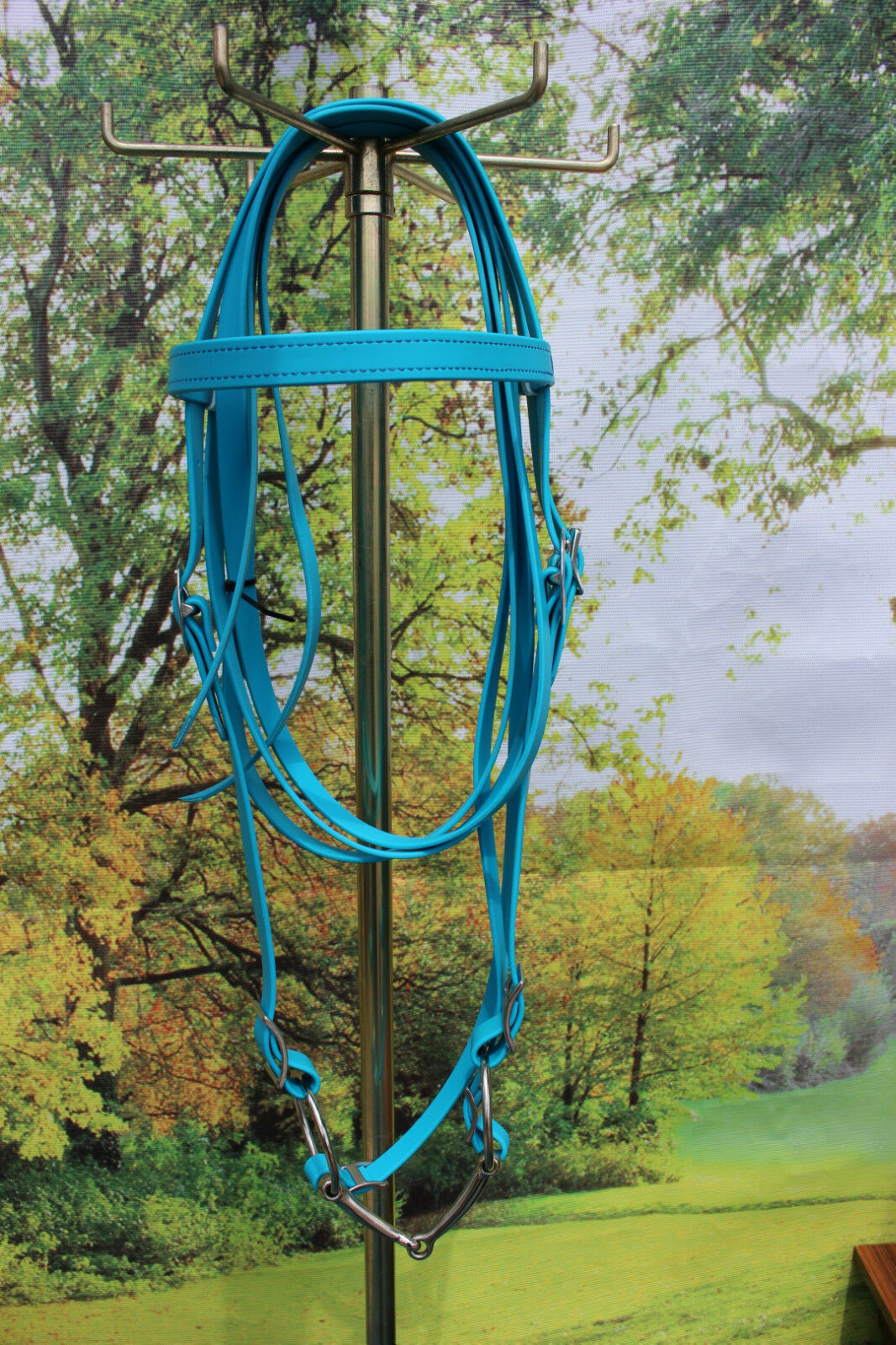 Draft horse beta biothane riding bridle with 6  O ring snaffle bit blueE USA made