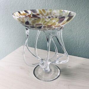 Vintage-Krosno-Poland-Studio-Art-Glass-Pedestal-Bowl-Centerp-10-Tall-X-8-5