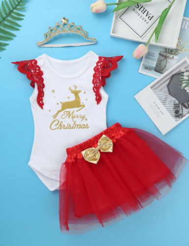 Infant Baby Girl Christmas Outfit Merry Christmas Romper Mesh Tutu Skirt Clothes