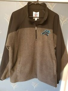 NFL-Carolina-Panthers-Mens-Fleece-1-4-Zip-Jacket-Size-Extra-Large-XL-Gray-Black
