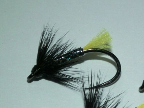 fishing flies---black /& yellow  fm heavy weight champ size 10 barbless