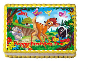 Bambi thumper Party Birthday Edible Icing Cake Topper 1/4 ...