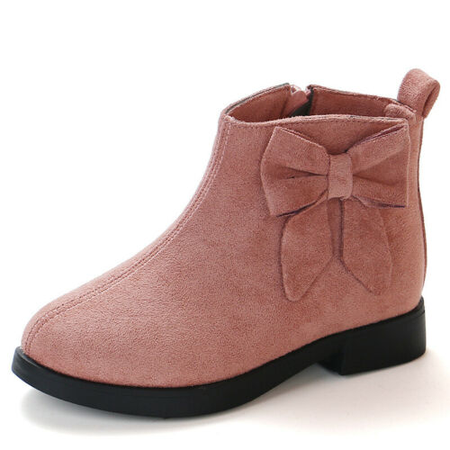 Kids Girls Faux Suede Bowknot Ankle Boot Fashion Children Toddler Flat Zip Shoes
