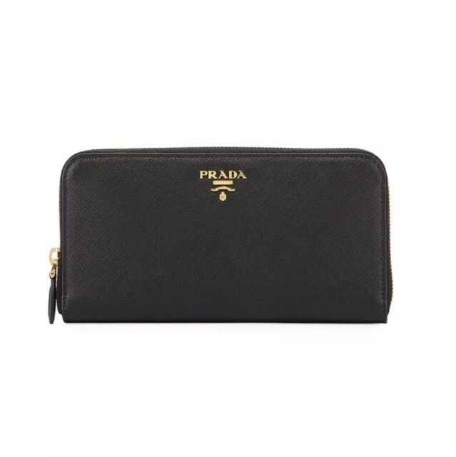 8fef45cbe2acae PRADA Wallet Saffiano Metal Leather Zip Around Black 1m0506 NWB for ...