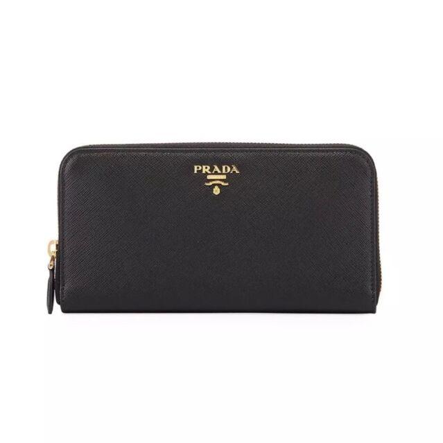 73963ebabbd New Prada Black Saffiano Leather Zip-Around Logo Wallet $700.00 *F/W 2018