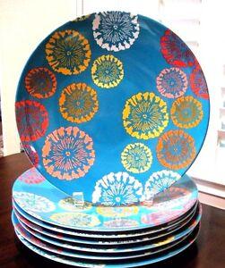 Image is loading Melamine-SUMMER-2012-Colorful-Contemporary-Dinner-Plates- Set-  sc 1 st  eBay & Melamine ~ SUMMER 2012 Colorful Contemporary Dinner Plates ~ Set of ...