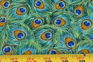 "15"" Long, Blue Green Metallic-Gold Peacock Plume Cotton/Timeless Treasures,P3244"