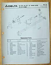 Original Delta 10 Wood Lathe 46 010 46 011 Stand Illustrated Parts List Wl 1a