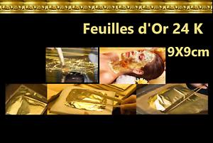 Feuilles d/' or 24 K Carats Veritable Gold Leaf paper sheets 9X9cm
