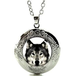 """Wolf Locket Pendant Necklace on 24"""" Stainless Steel Chain Gift Boxed Great Gift"""
