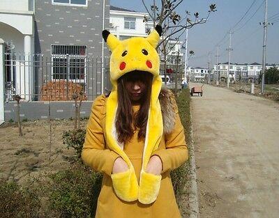 new Winter Multifunctional Pokemon Pikachu Plush Cap Hat Gloves Best Gift