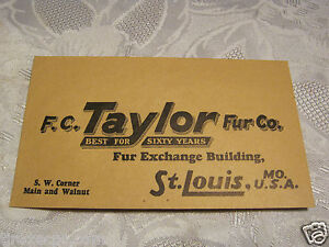 F-C-Taylor-Fur-Co-St-Louis-Vintage-Trapping-Hunting-Paper-Adverting-envelope