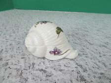 Vintage Genuine Bone China Snail Trinket Box With Violets In Excellent Condition